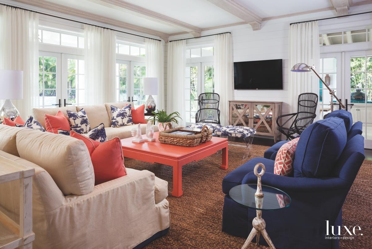 traditional living room tangerine hues...