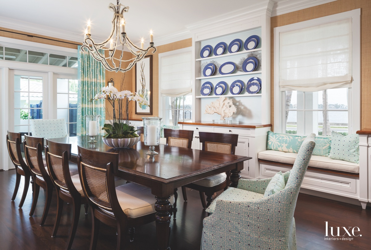 traditional dining room blue accents