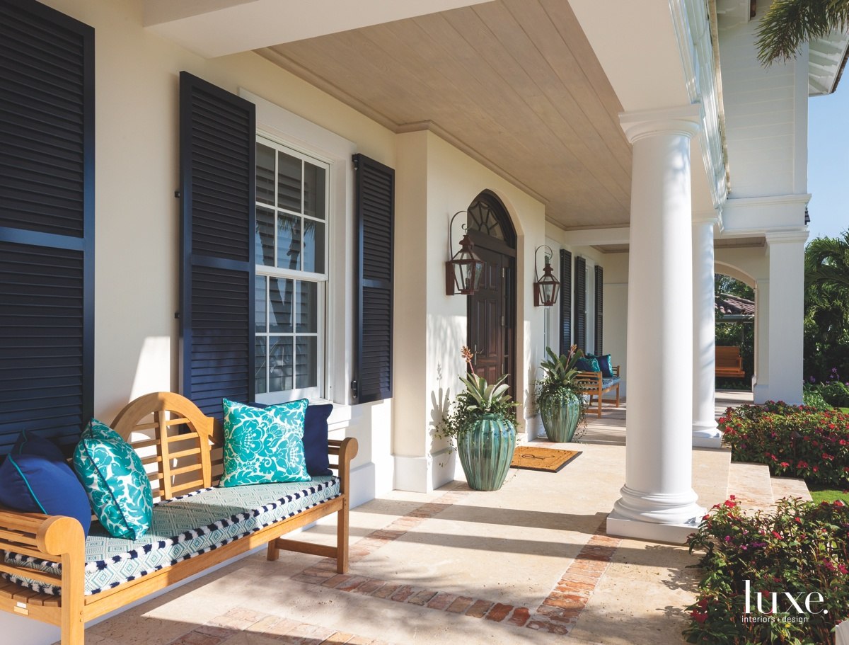 traditional exterior entry sitting area...