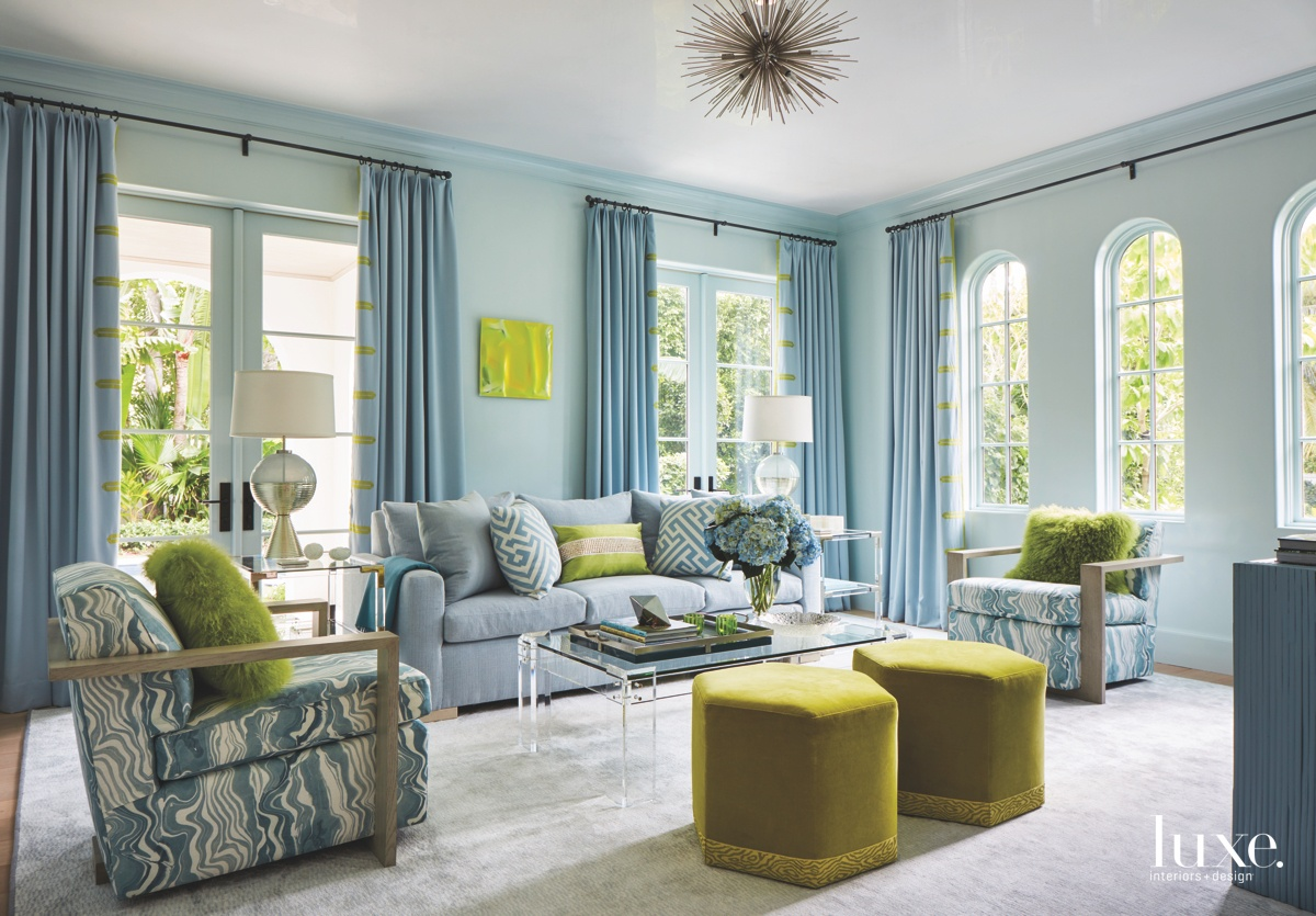 contemporary den area blue and...