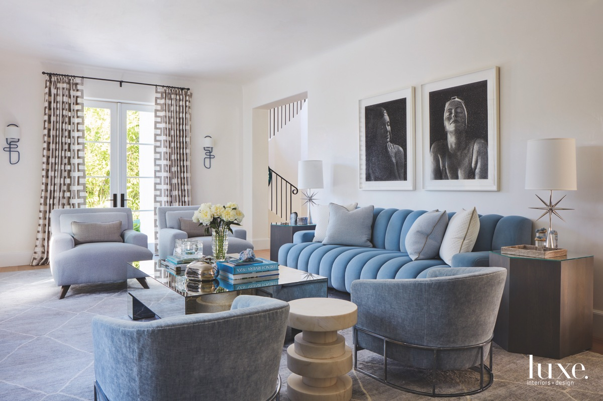 contemporary living room blue furniture...