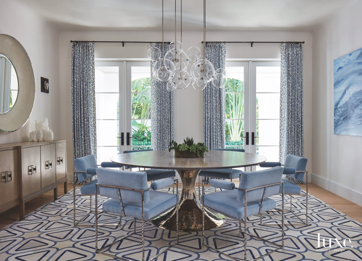 contemporary dining room blue accents