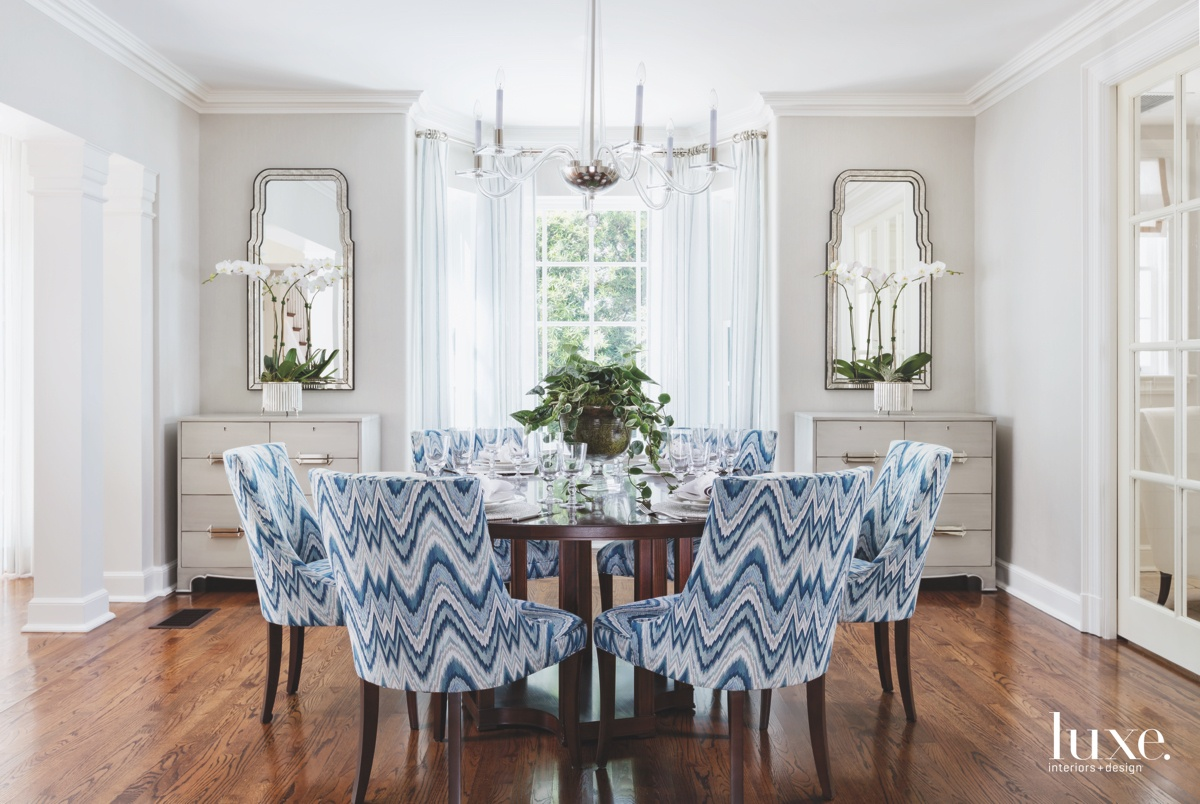 traditional dining room blue chairs