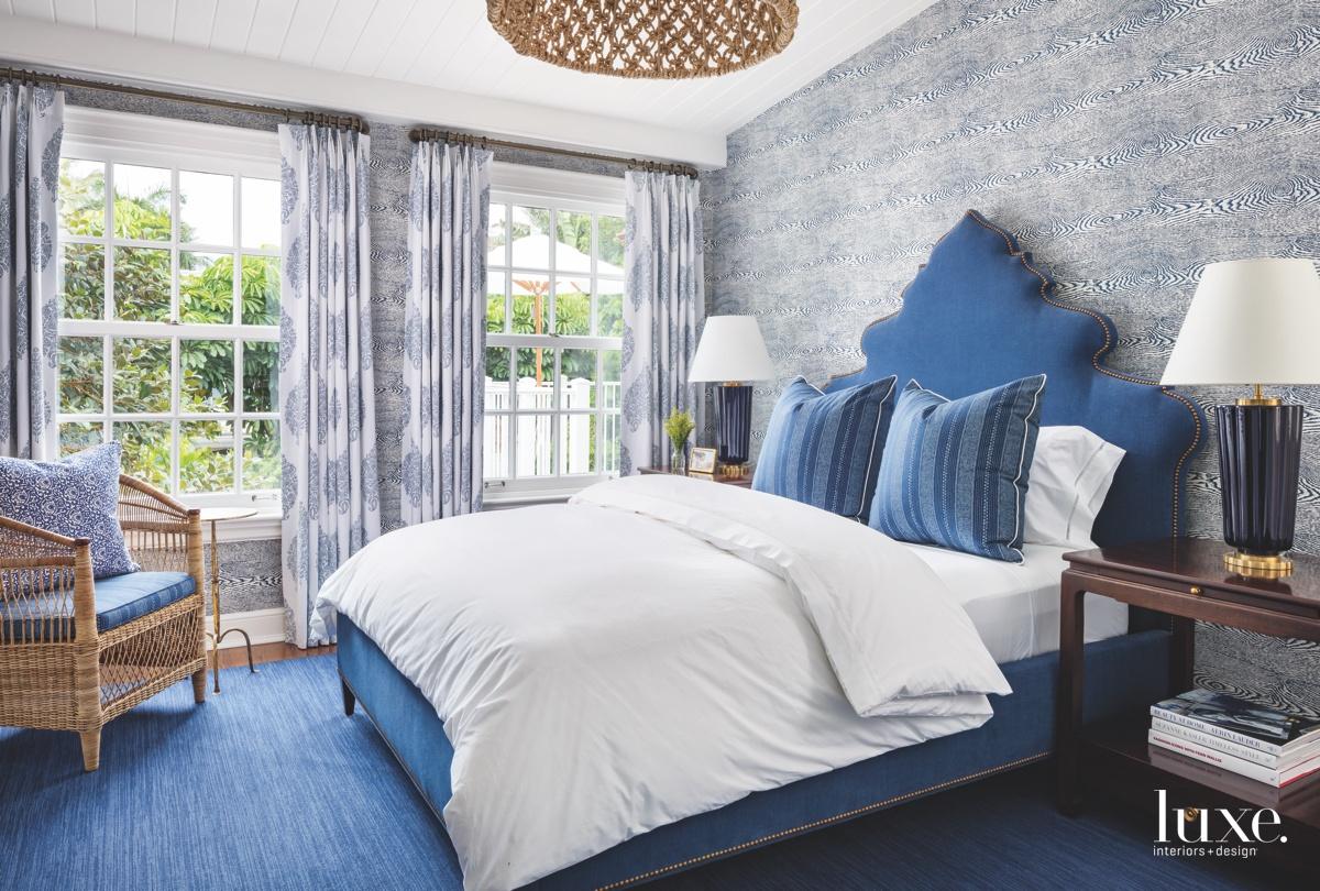 traditional blue bedroom walnut side...