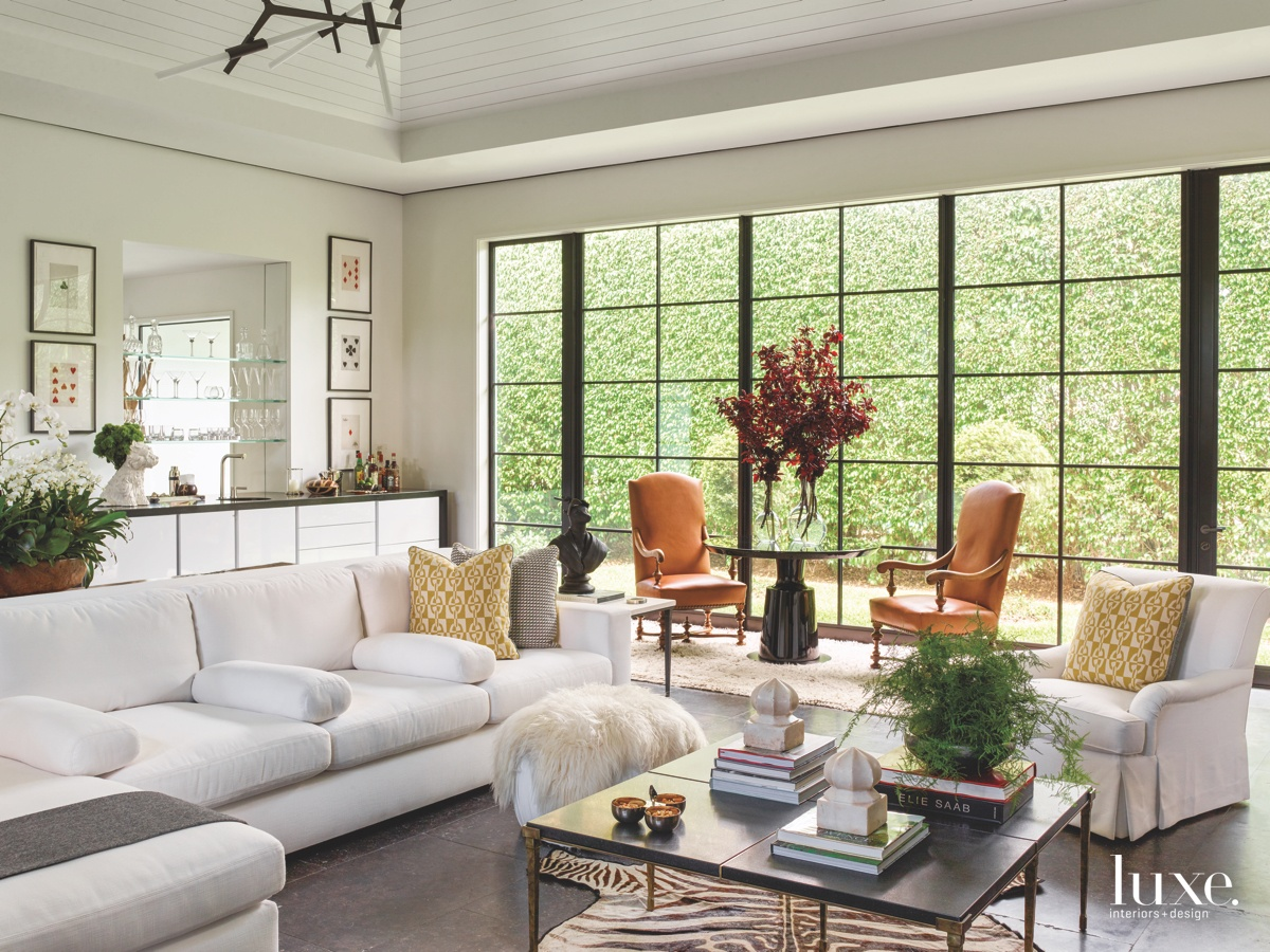 transitional great room white sectional...