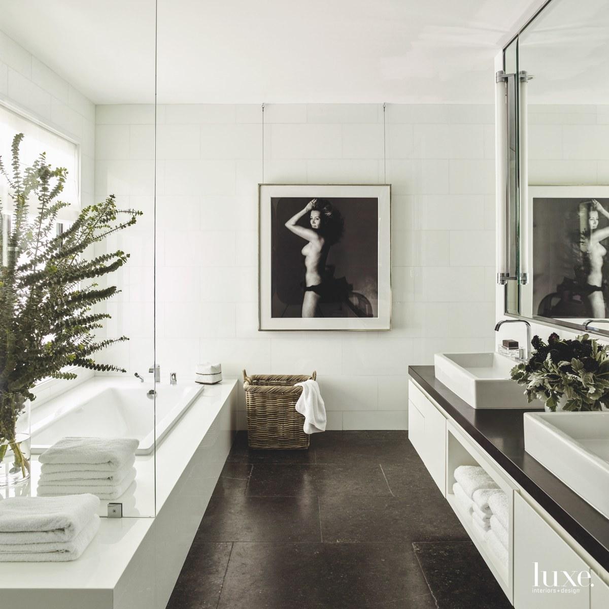 transitional bathroom white walls black...