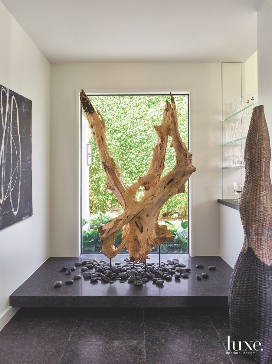 transitional wood tree sculpture black...