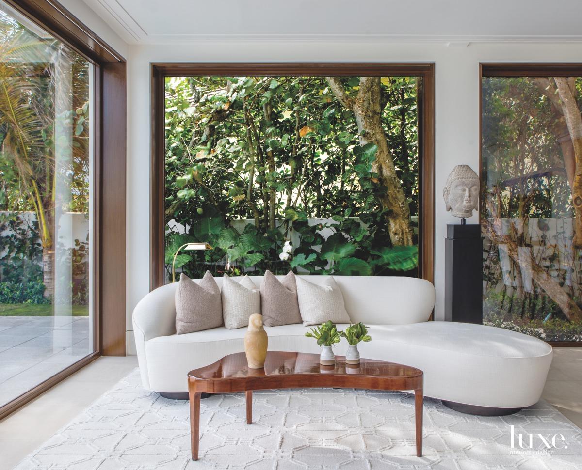 modern living room curved white...