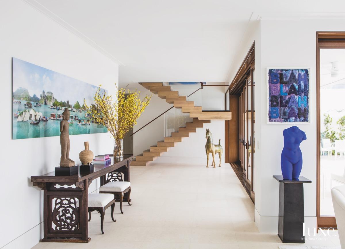 modern hallway floating oak staircase