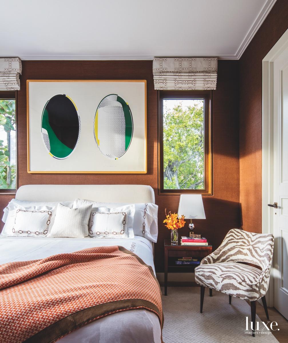 modern bedroom brown walls bed