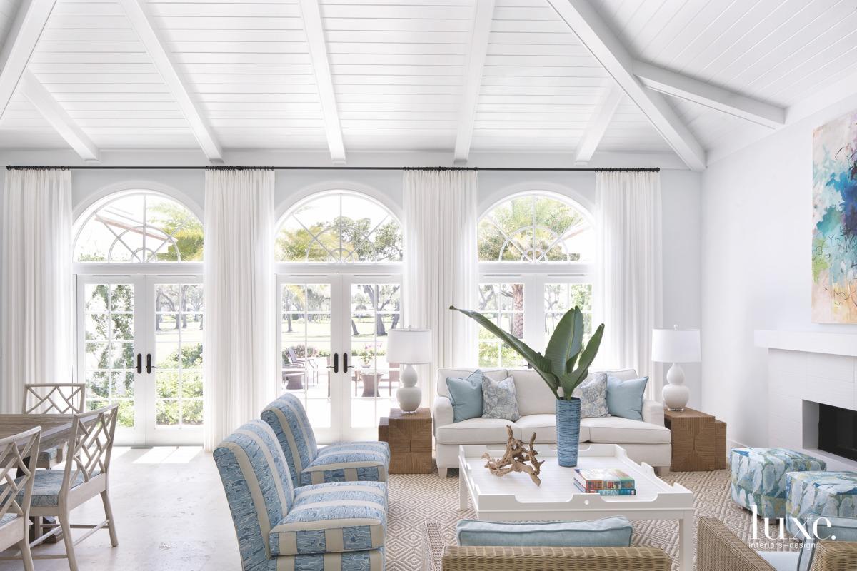 coastal living room blue accents