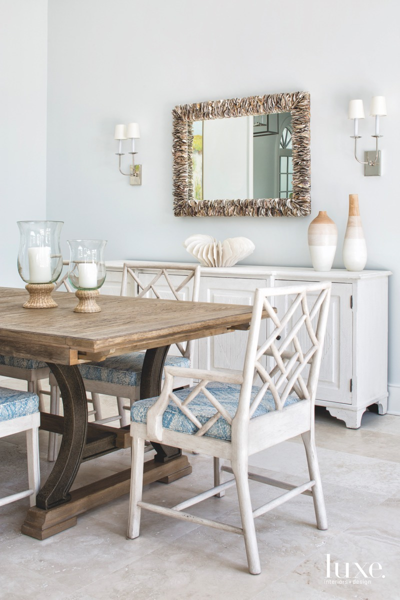 coastal dining room blue accents...