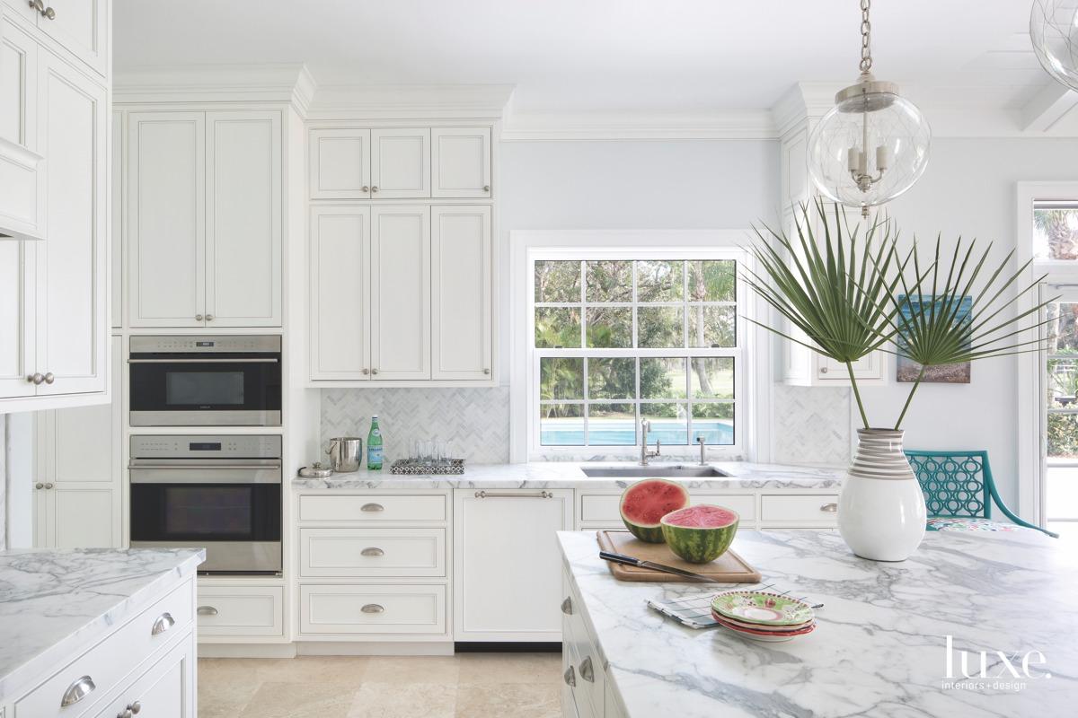 coastal white kitchen marble countertops