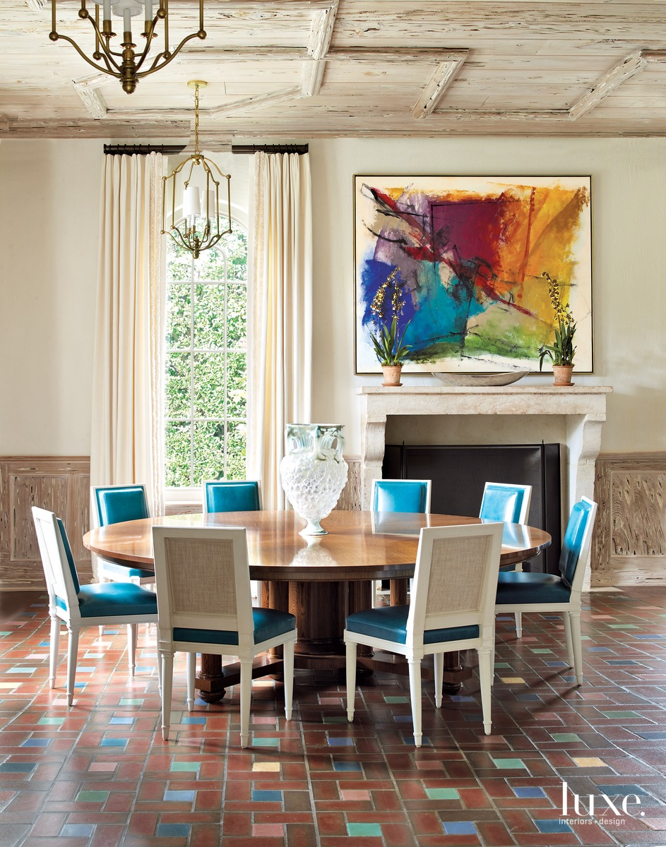 mediterranean multi-color dining room colorful...