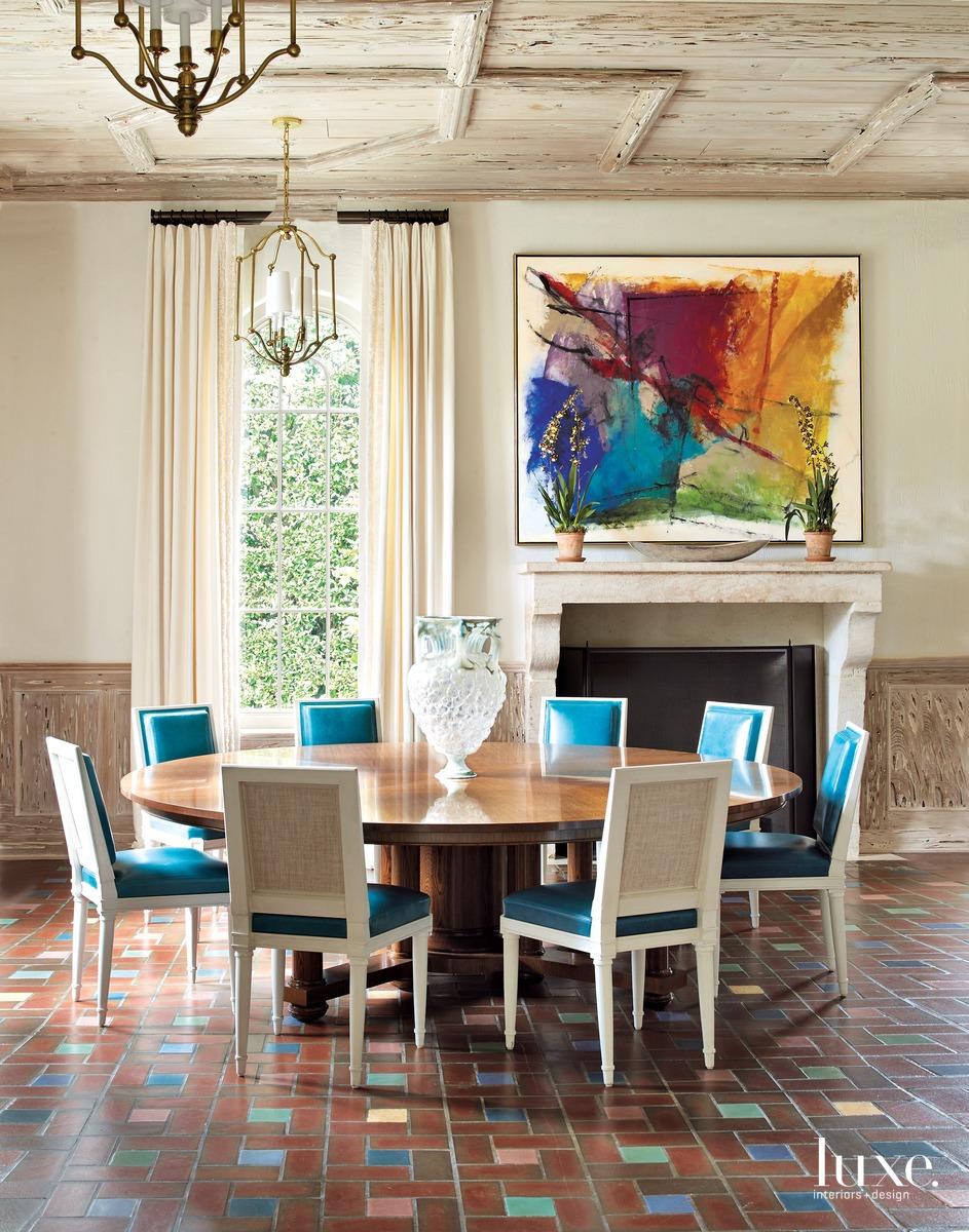 mediterranean multi-color dining room colorful...