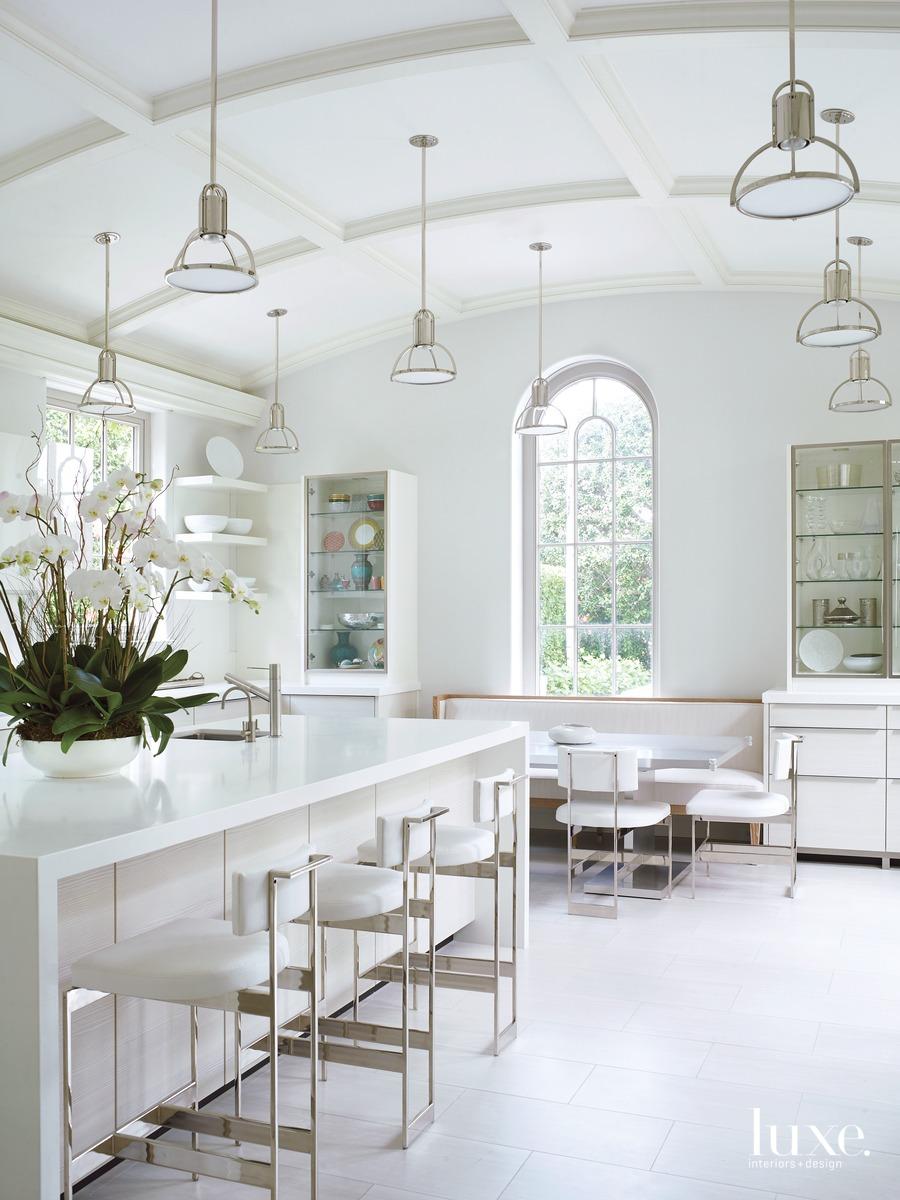 mediterranean white kitchen island with...