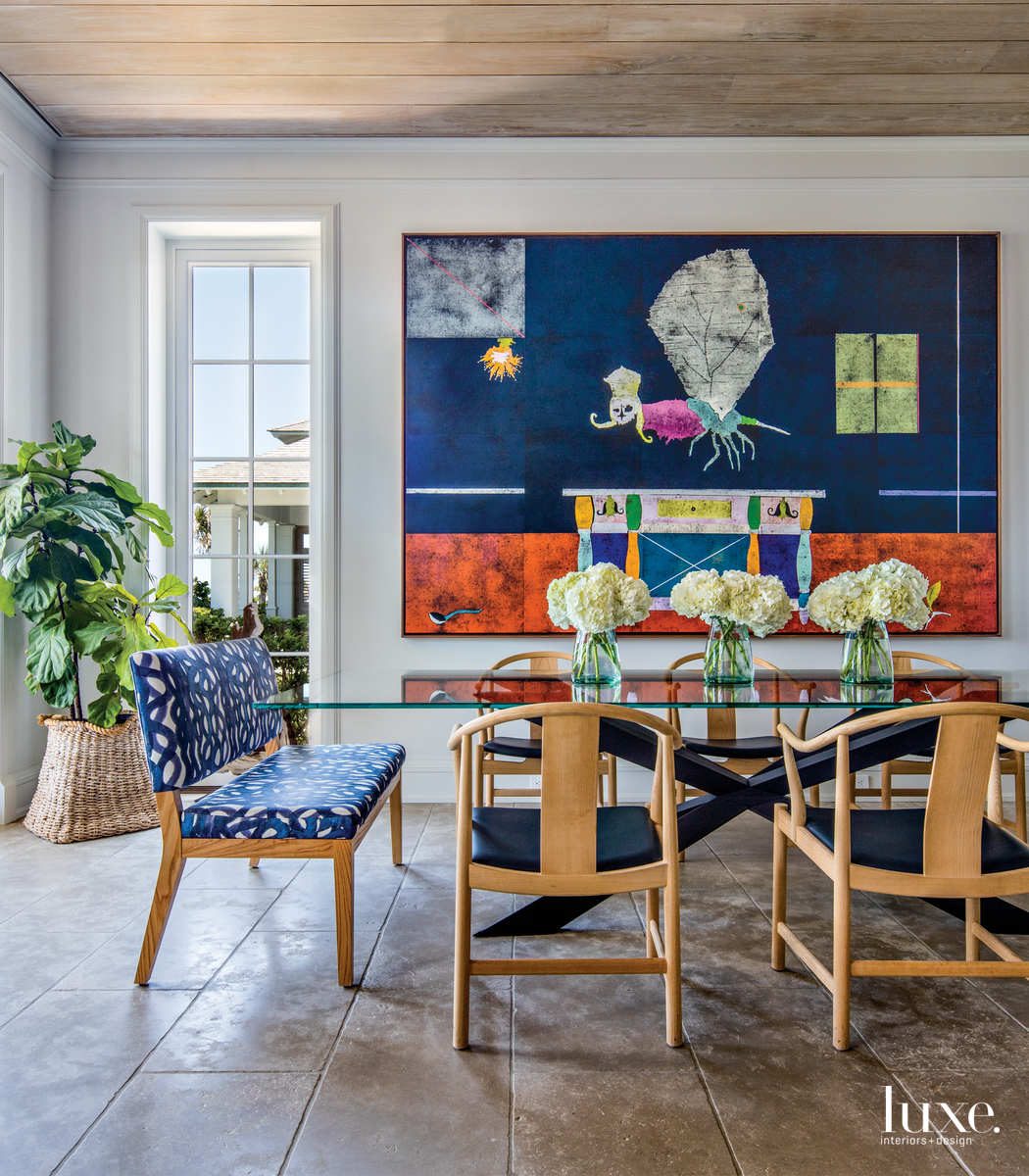 coastal dining area casual colorful...