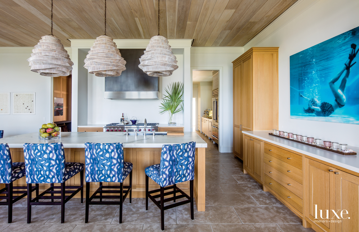 coastal kitchen blue counter stools...