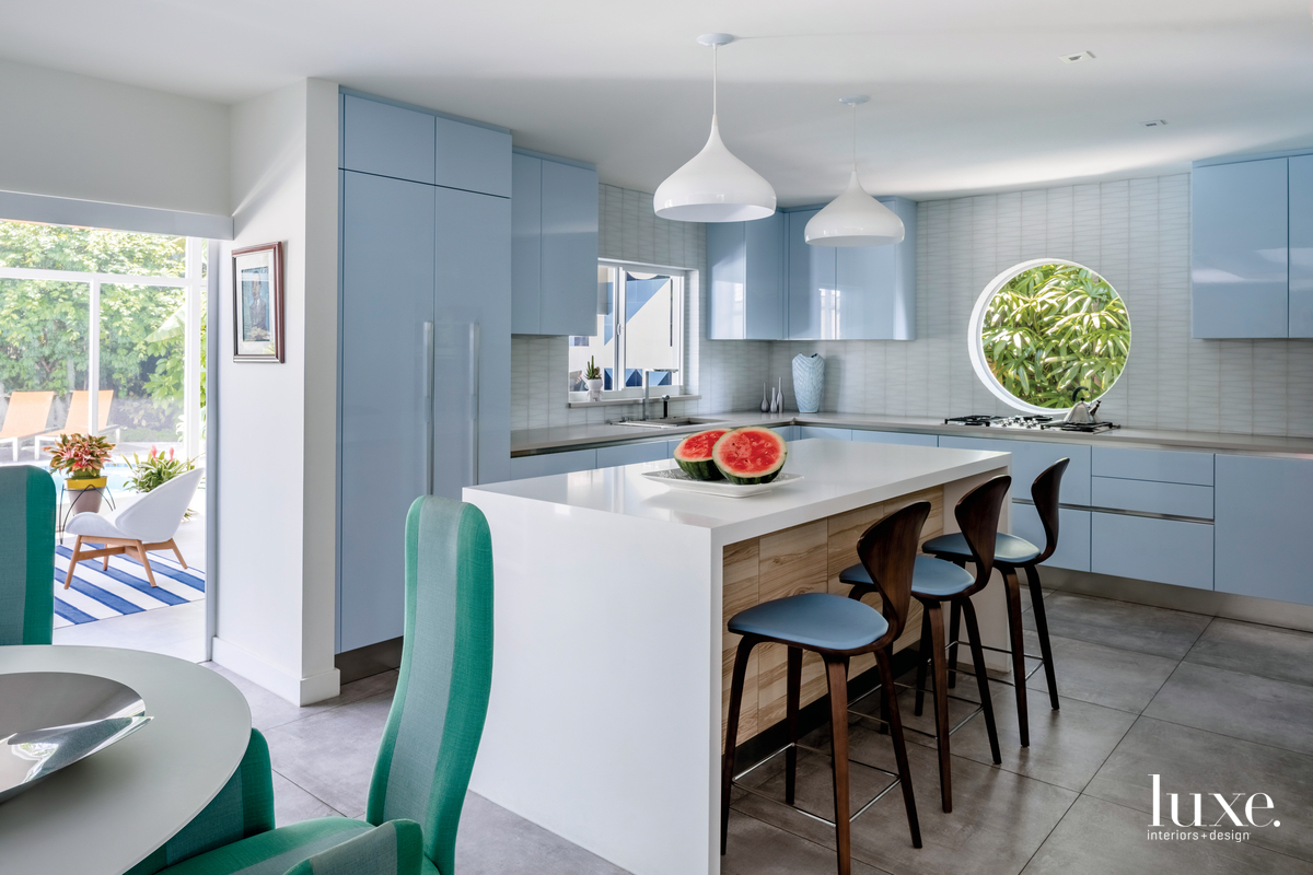 modern kitchen pale blue cabinetry
