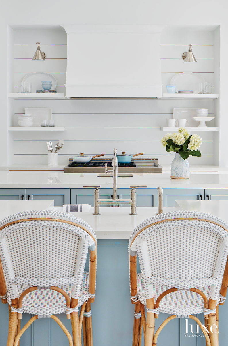 transitional kitchen pale blue island...