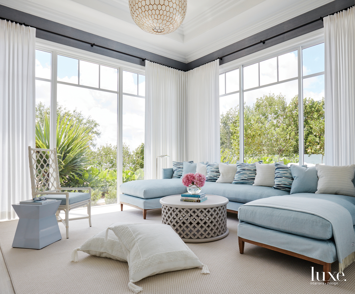 transitional family room pale blue...