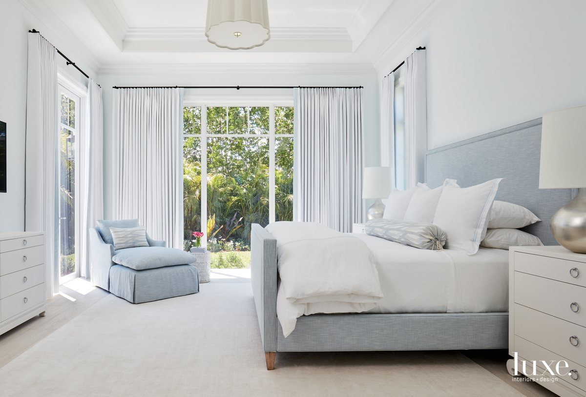 transitional white bedroom pale blue...