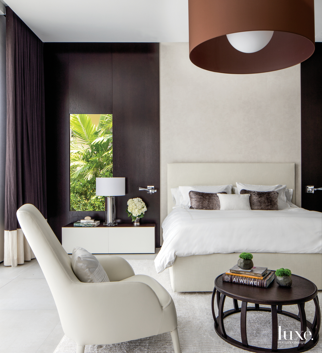 contemporary bedroom white and brown