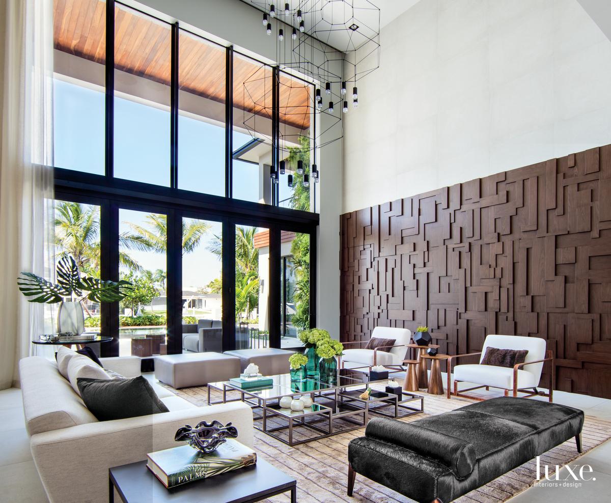 contemporary living room three-dimensional walnut...