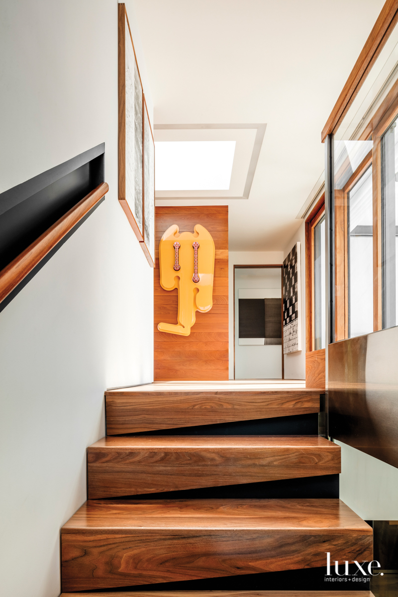 contemporary staircase brown and black...
