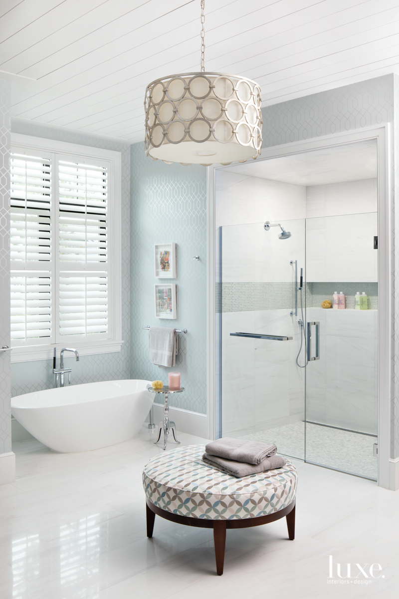 modern white bathroom blue gray