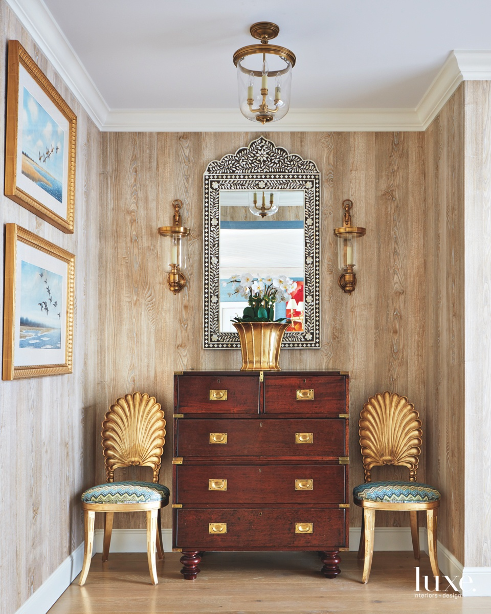 contemporary hall brown dresser gold...