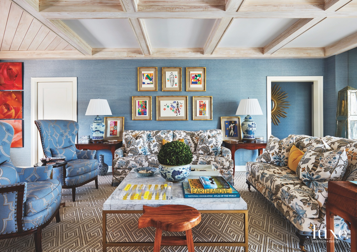 contemporary blue living room patterned...