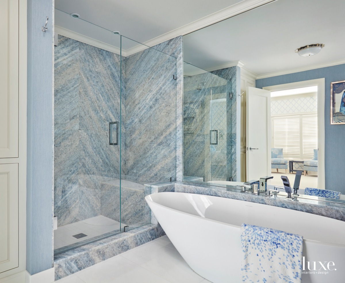 contemporary bathroom blue accents white...