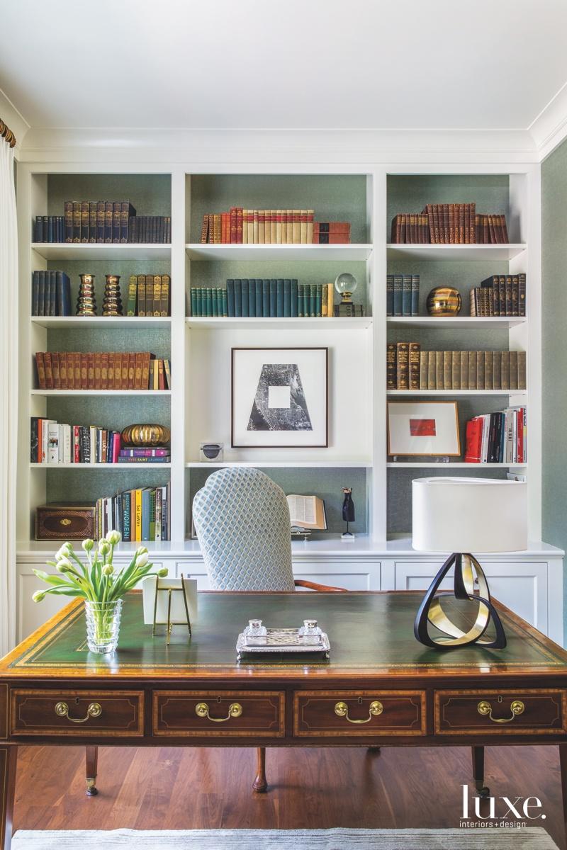 transitional office bookshelves mahogany desk