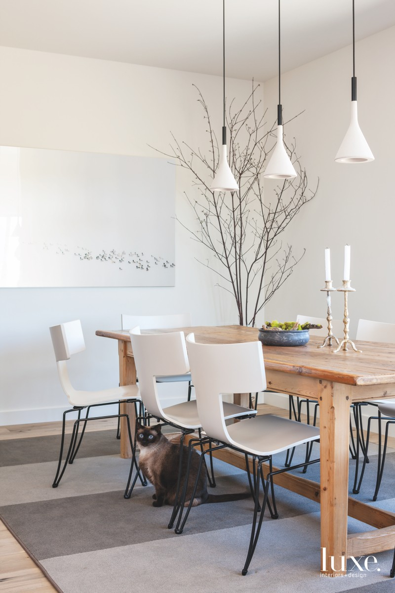 modern white dining room pendants...