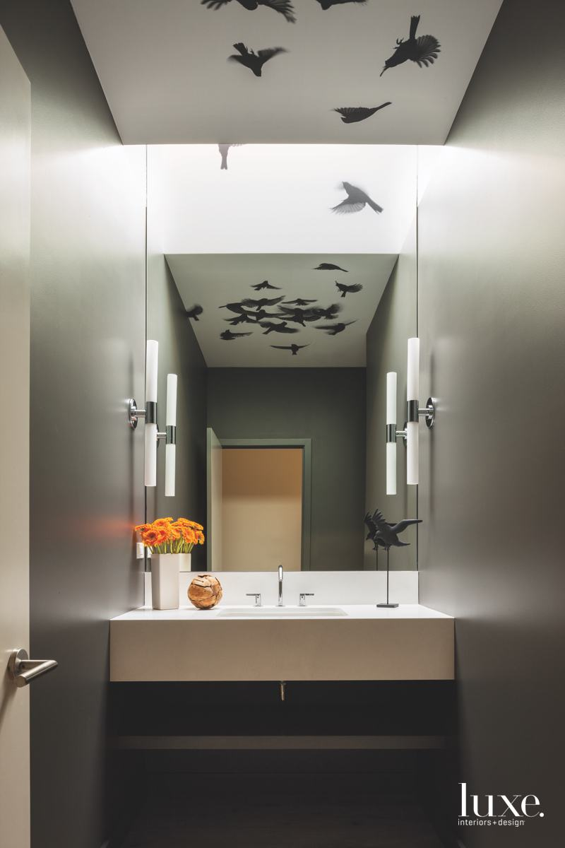 modern bathroom birds gray
