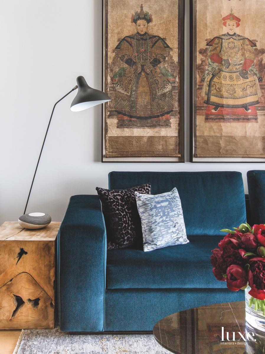 eclectic living room blue sofa...