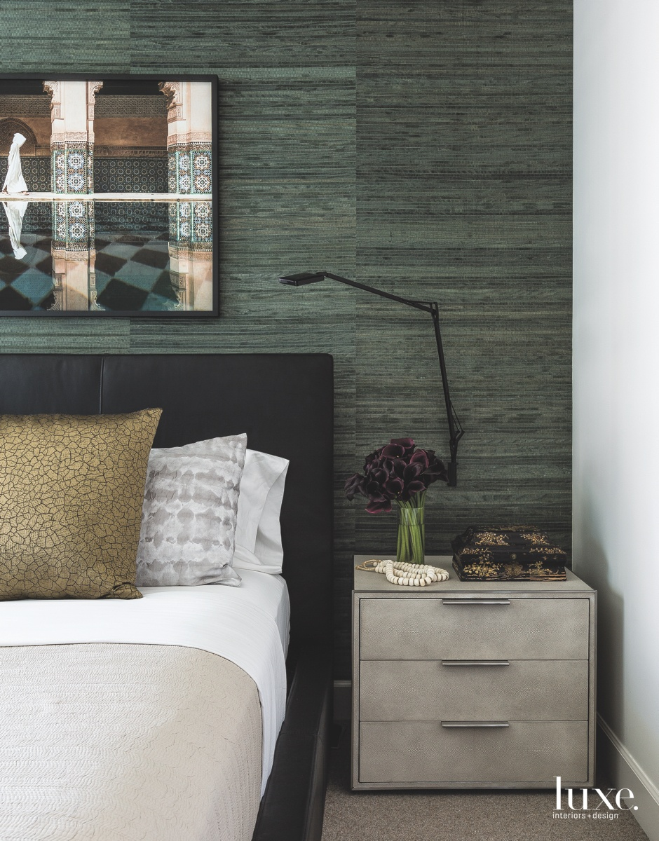 eclectic bedroom gray wall