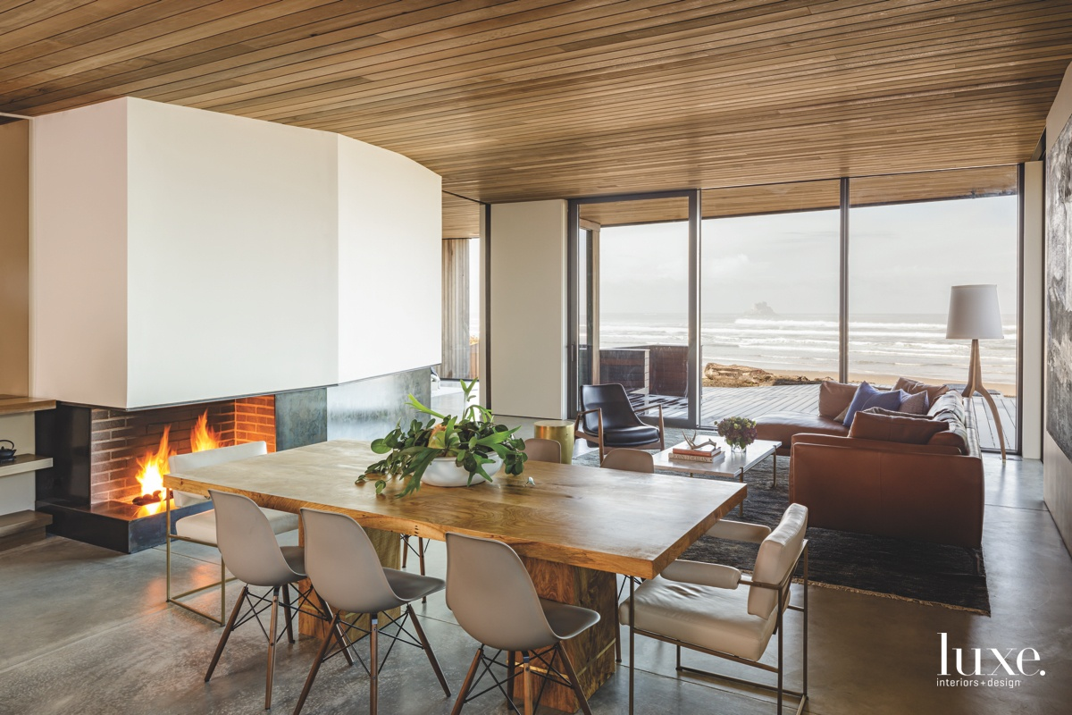 modern dining area fireplace wood...