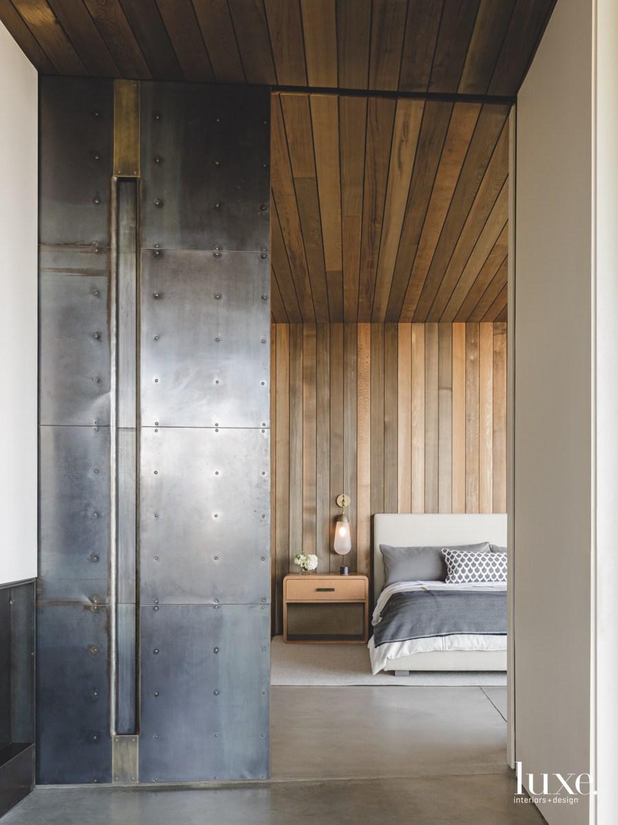 modern bedroom steel-and-brass door