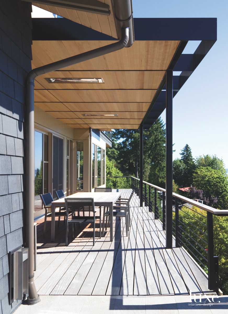 contemporary exterior deck with canopy...