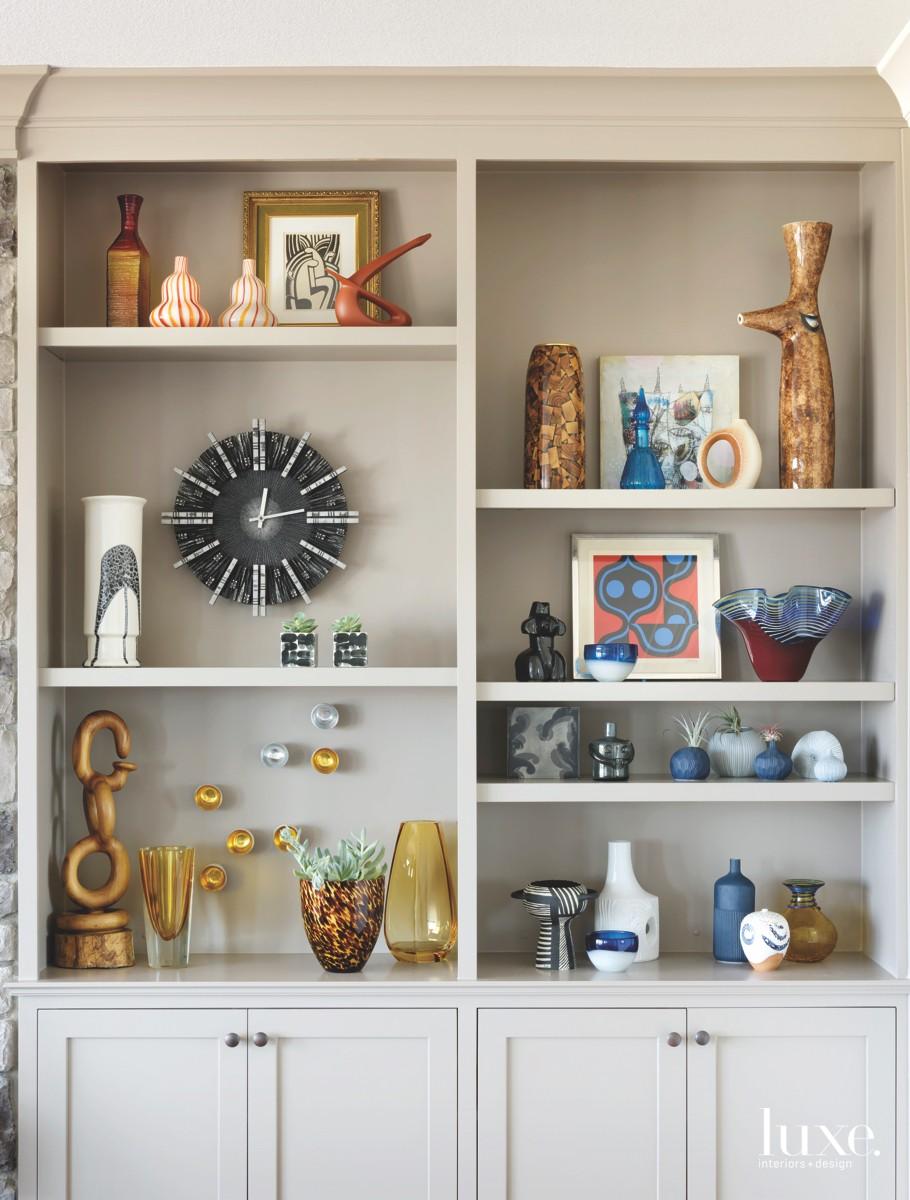 mid-century modern living room shelves...