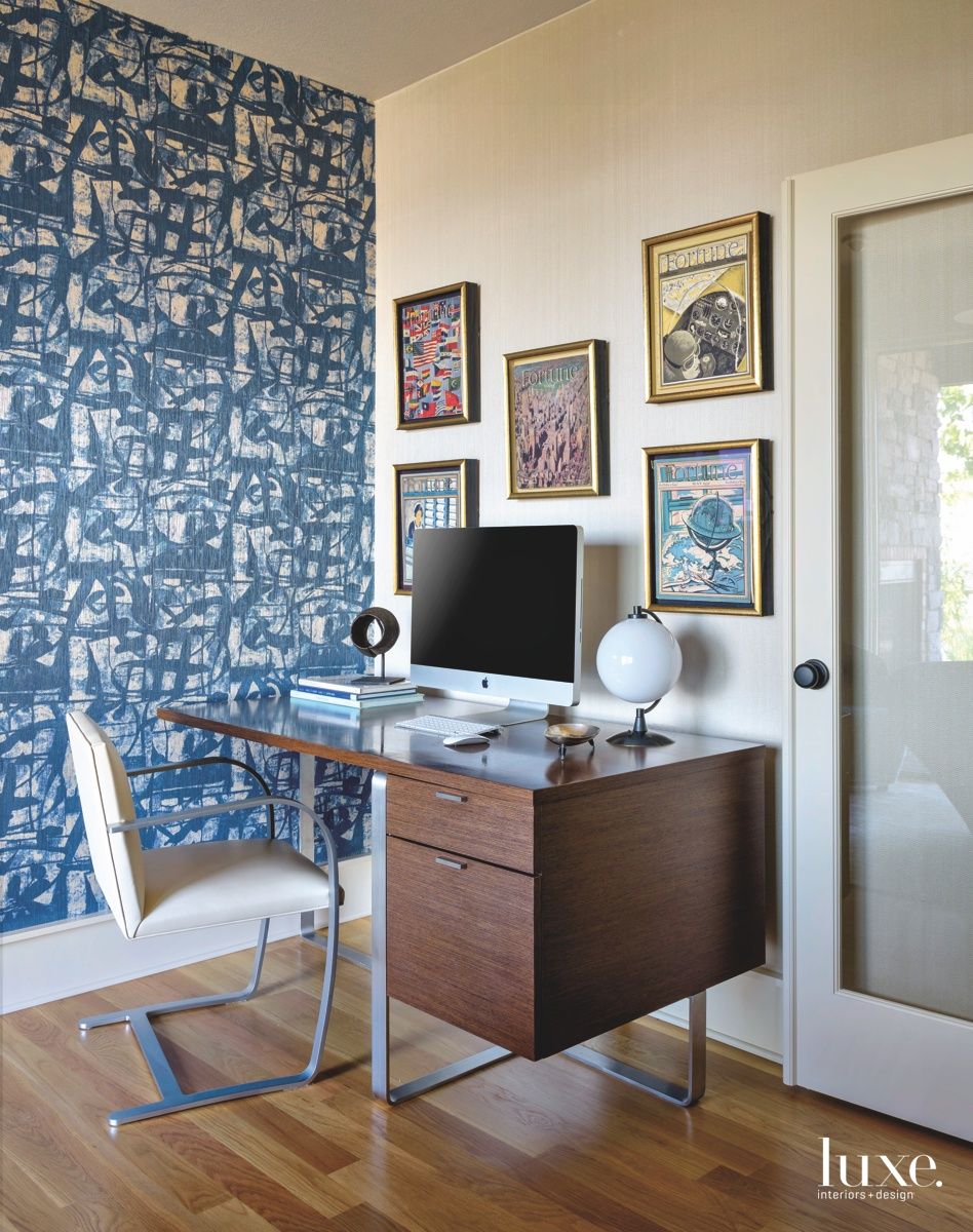 mid-century modern office blue wall...