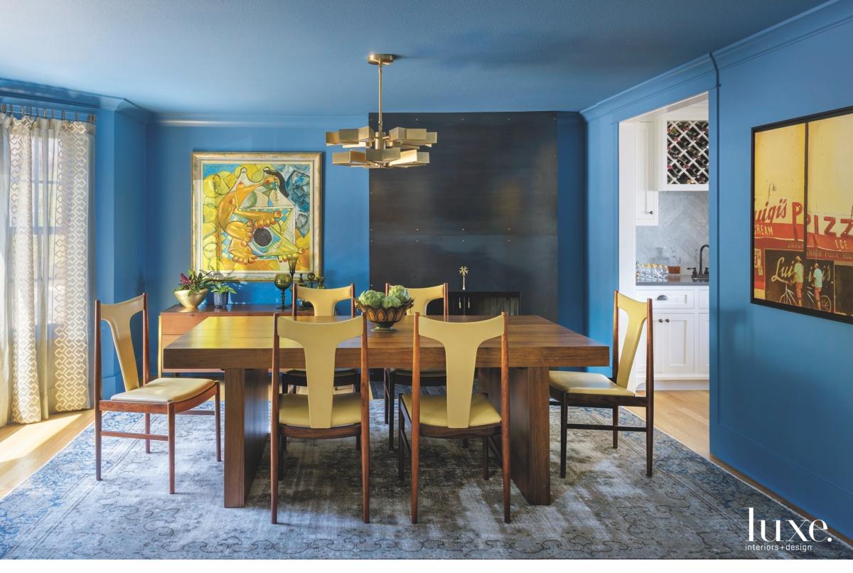 mid-century modern blue dining room...