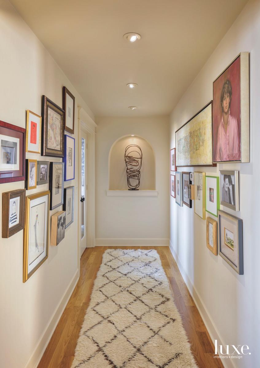 mid-century modern hallway colorful artworks