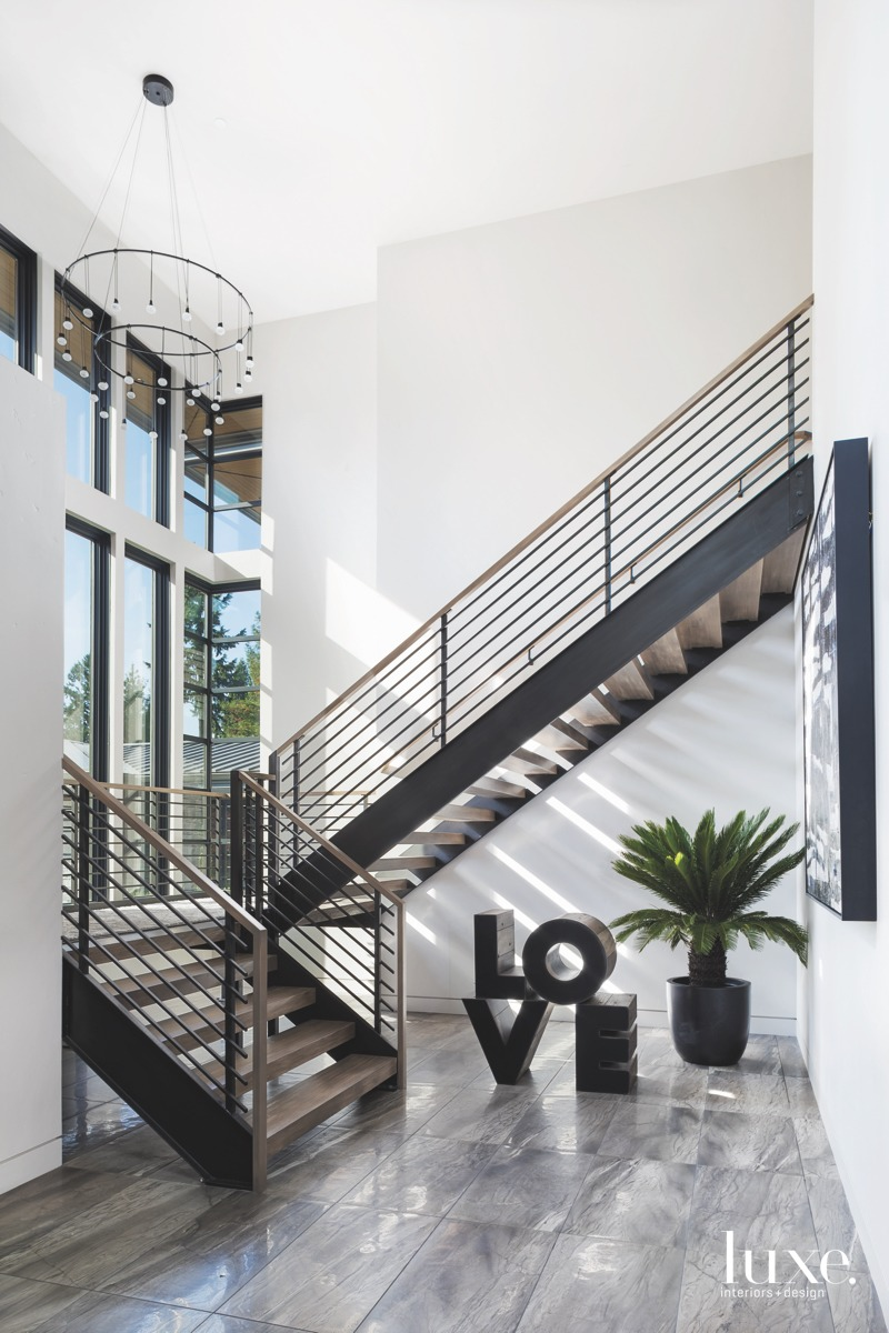 contemporary front entry staircase love...