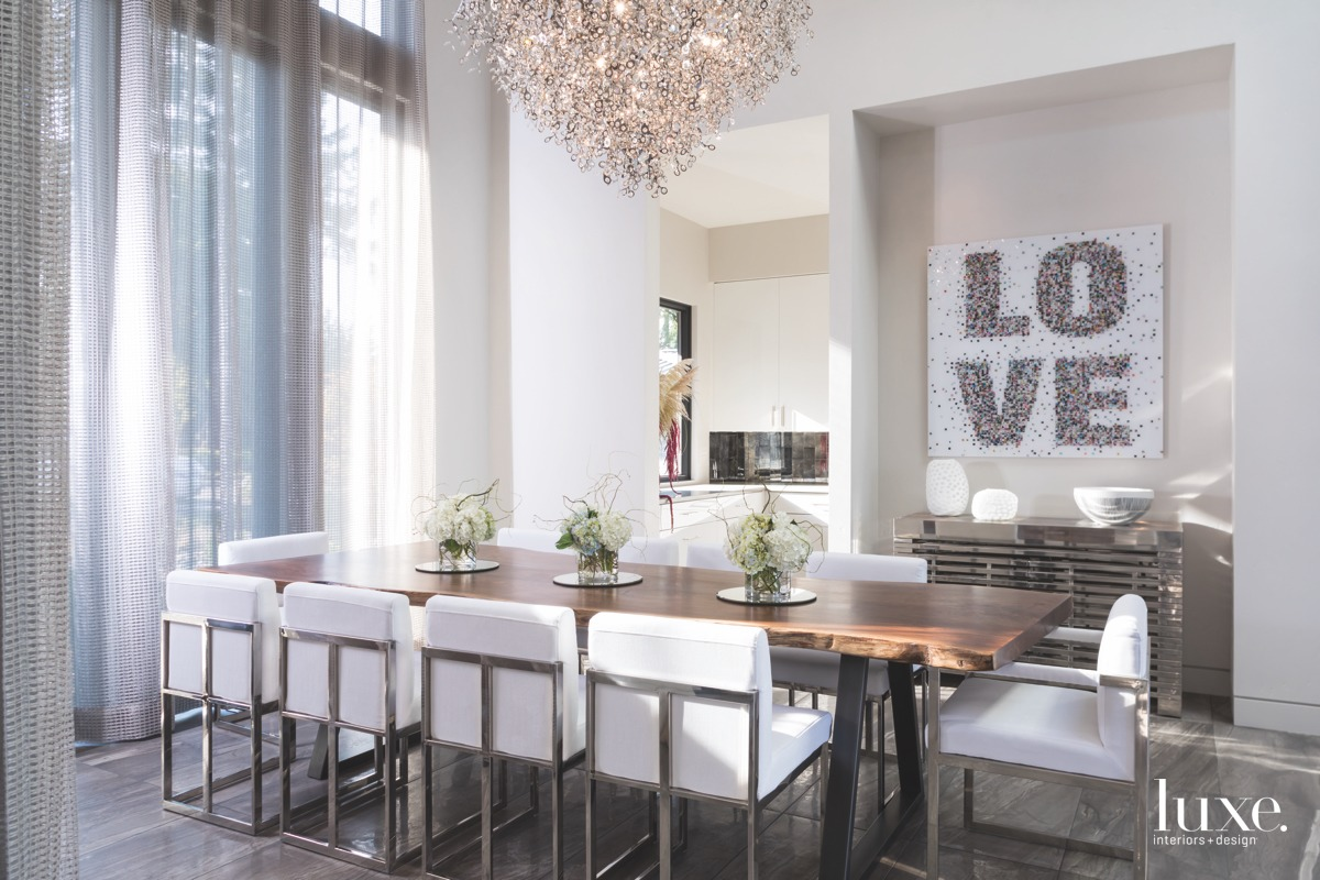 contemporary neutral dining room chandelier...