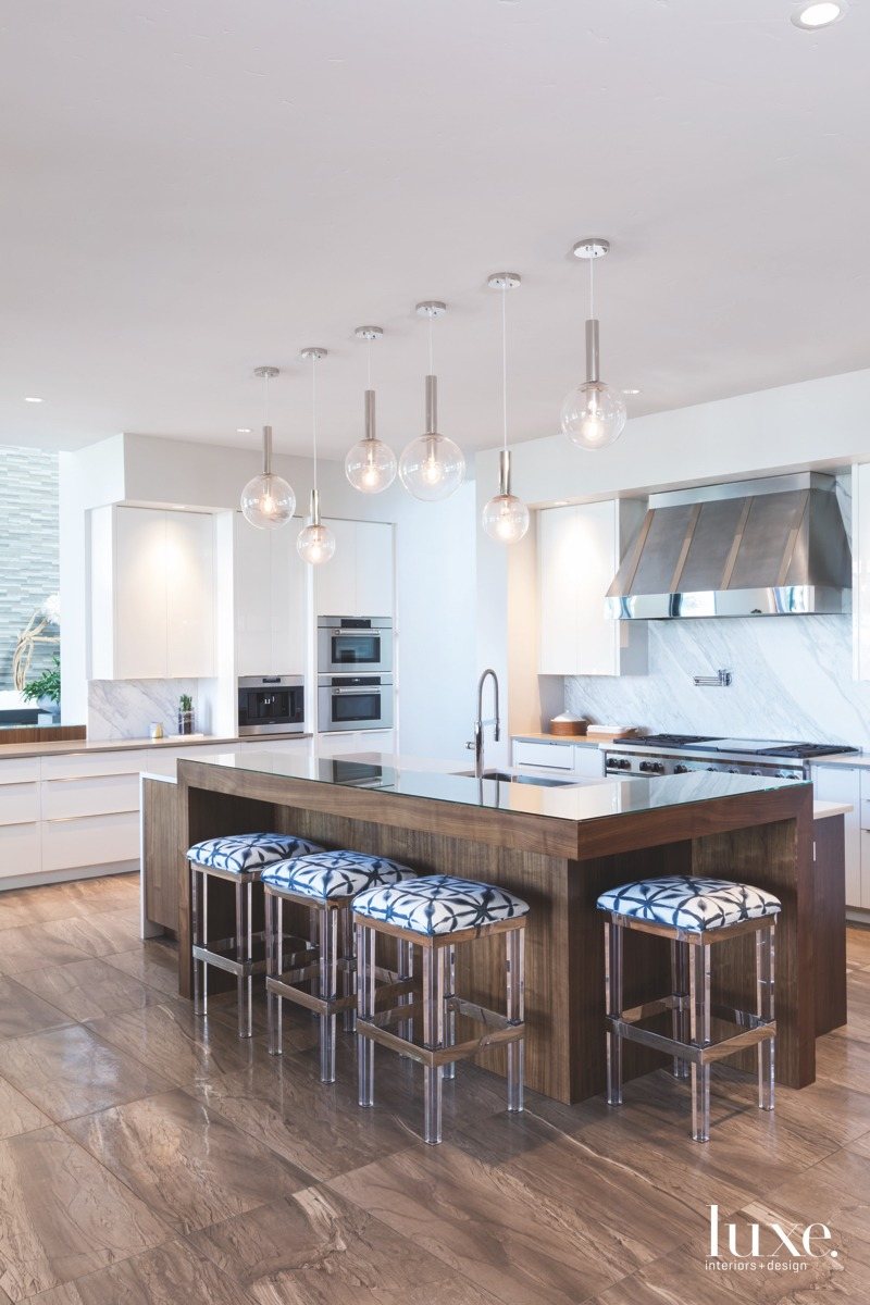 contemporary kitchen neutral blue barstools