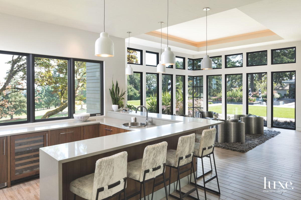 contemporary neutral kitchen bar area