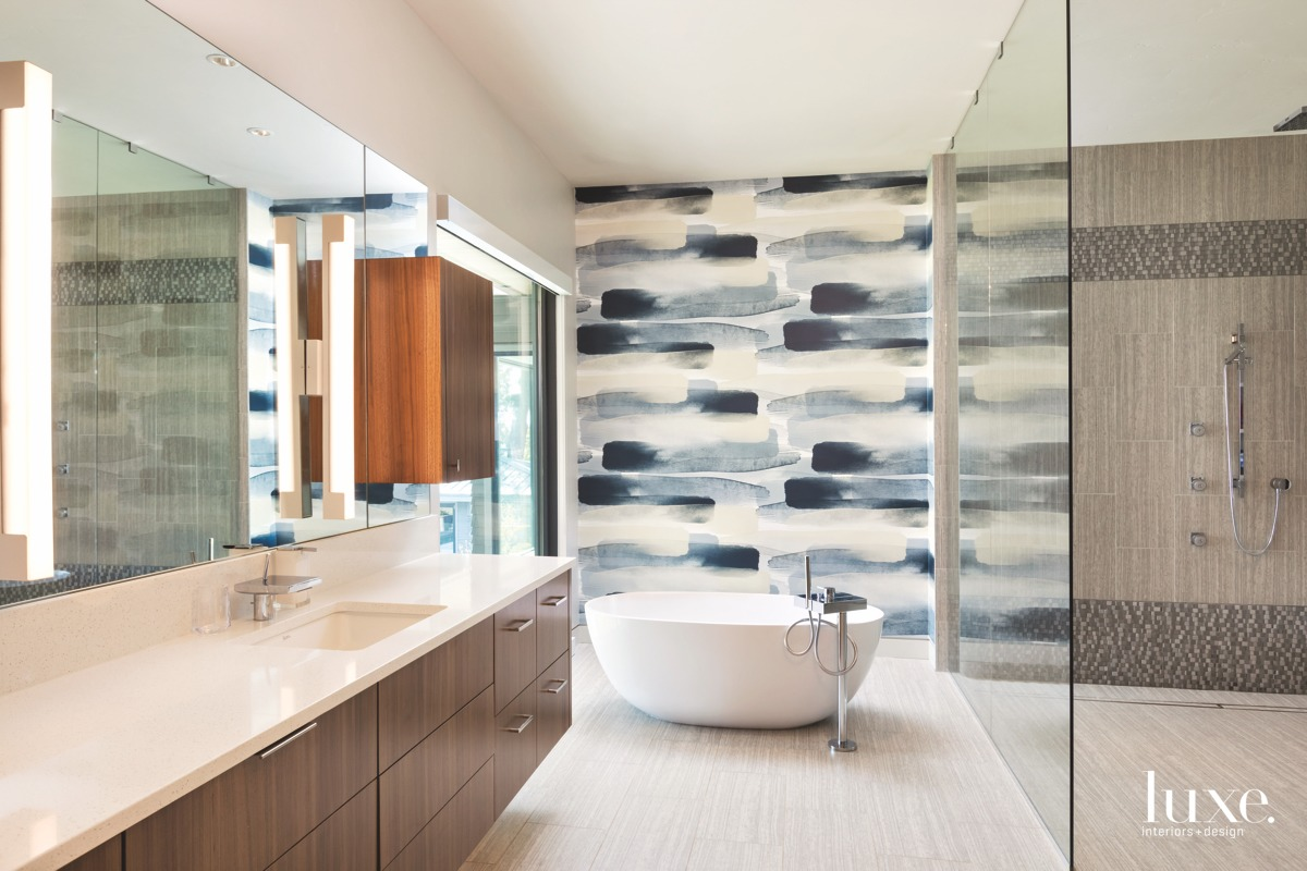 contemporary bathroom blue patterned wall